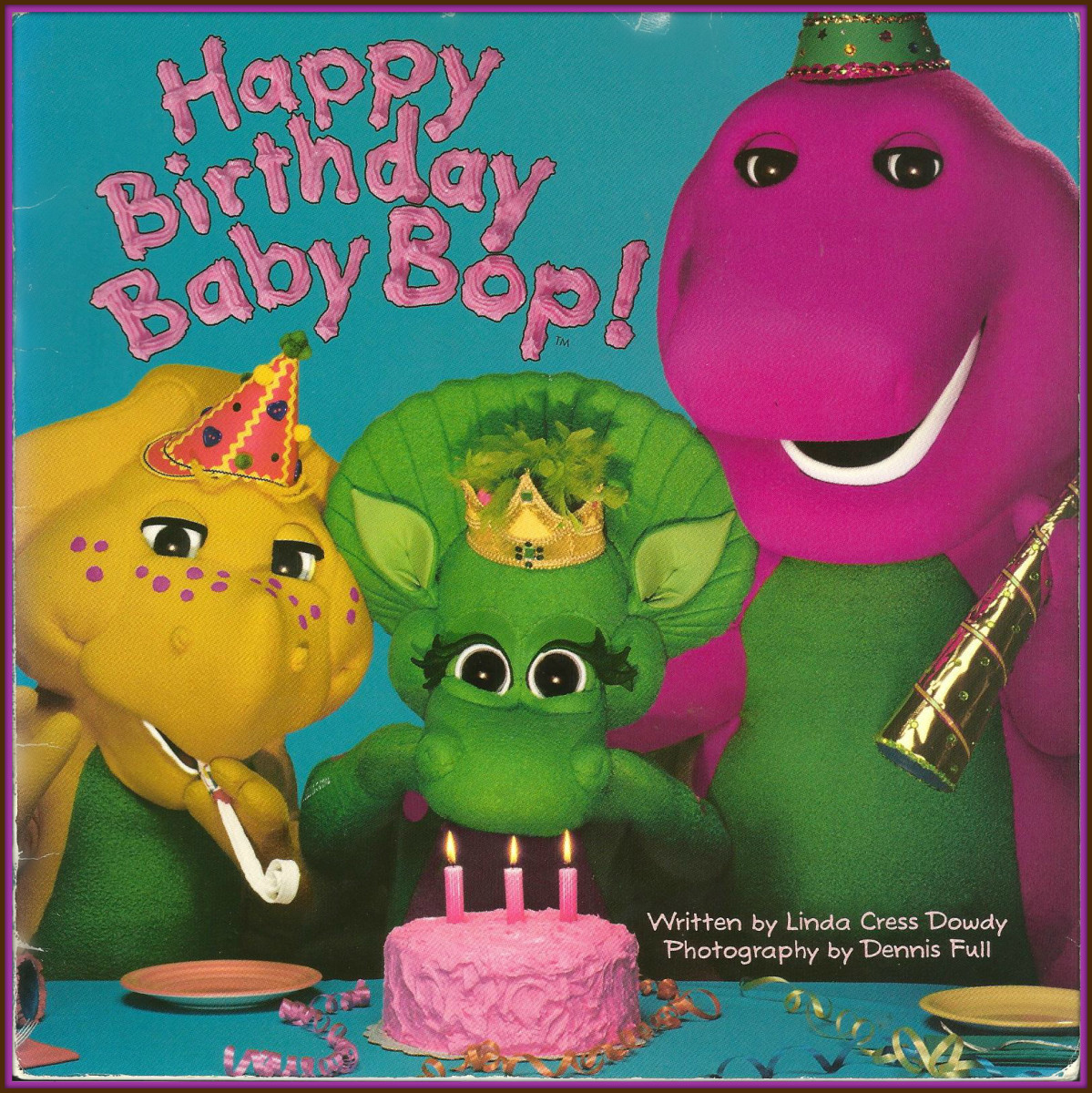 They play games, open presents, have cake, and much more!  ... The story characters are Barney, Baby Bop and  BJ ... This book was included in Barney's Sharing & Caring Treasury.