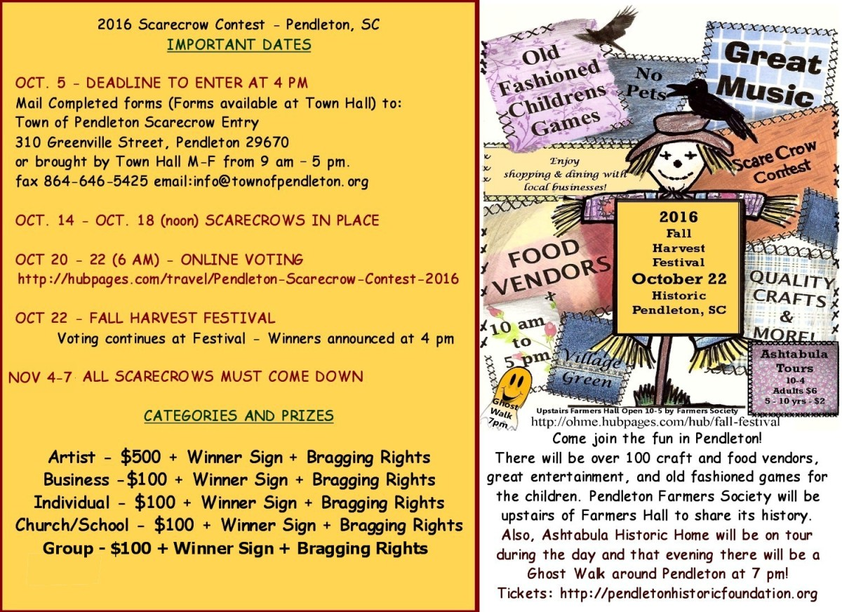 Join in the fun and create an amazing scarecrow.  You might win some money for you, your neighborhood, business, church, school or organization.