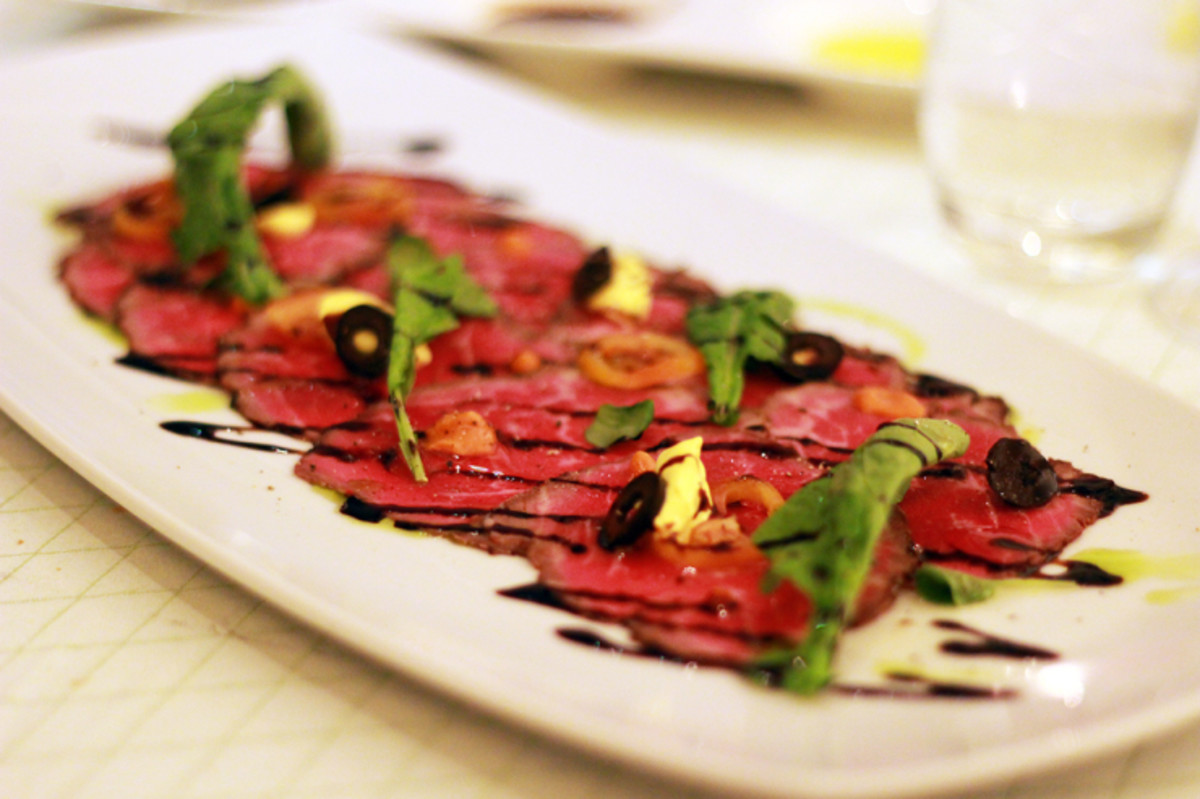 Beef Tenderloin Carpaccio with Herbs and Truffle Oil