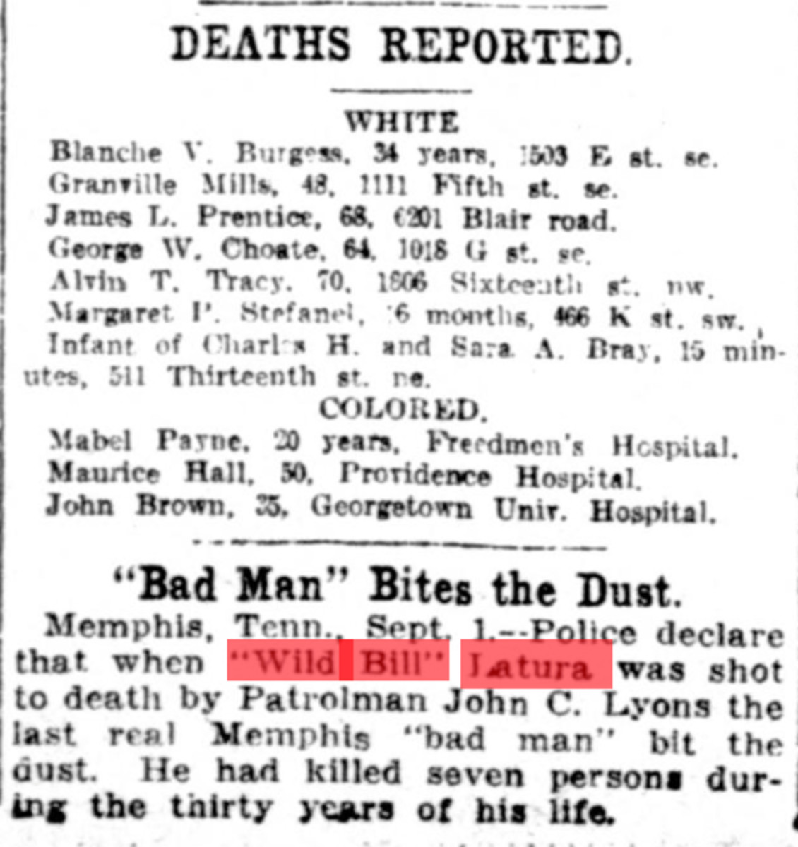 """Wild Bill"" Latura was considered to be the last real Memphis ""bad man""."