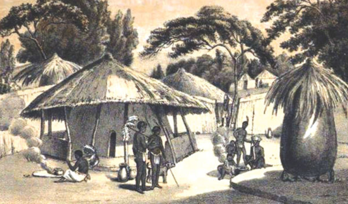 Painting of a traditional Tswana village by artist Samuel Daniell
