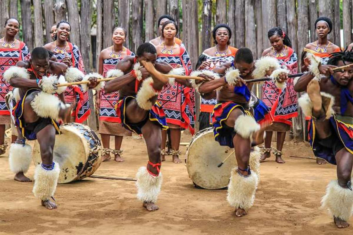 Zwazi men and women wearing traditional clothes