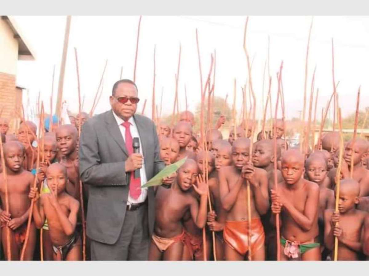 Modern Pedi boys attending initiation school, South Africa
