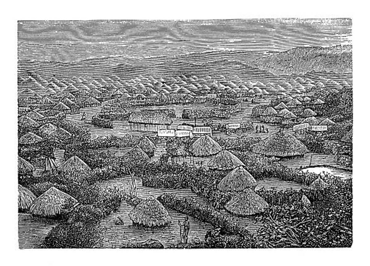 Drawing of Tswana Villiage in the 1600s