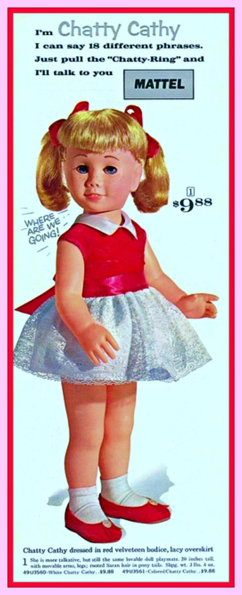 """Early 1960s Chatty Cathy Advertisement, """"Just Pull the Chatty Ring"""" I can say 18 different phrases, I can talk to you."""