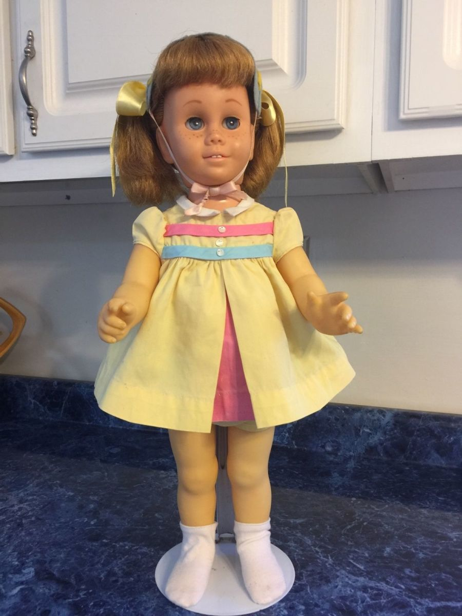 Mattel Chatty Cathy she is a original 5th Issue 1962-1964 with blonde hair and  blue eyes. She is in her Nursery School dress; with blonde pigtail hair style ...