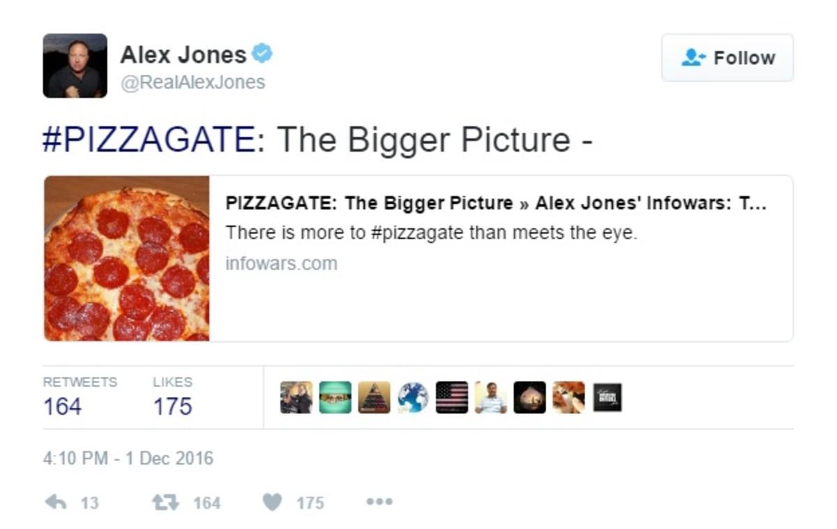 """One of Jones' """"Pizza-gate"""" tweets"""
