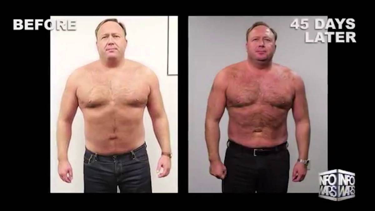 "Alex Jones' before-and-after ""weight loss"" photos."