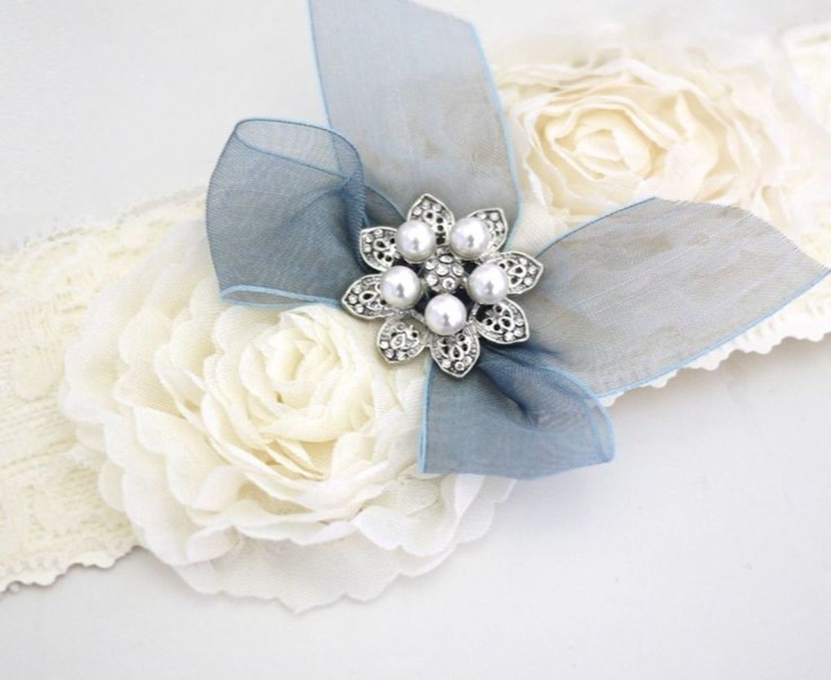 Wedding something blue garter