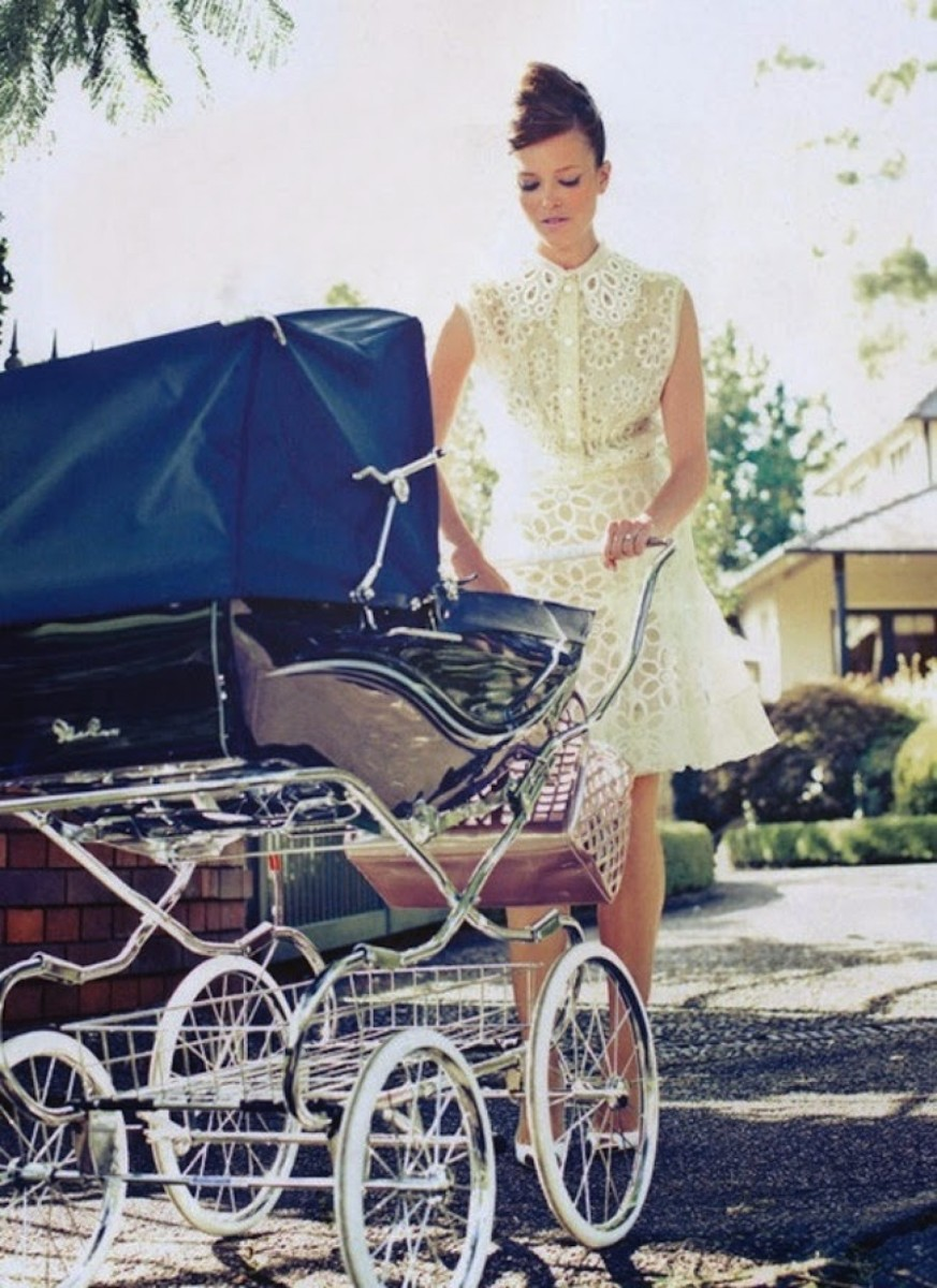 60's retro pram and mother