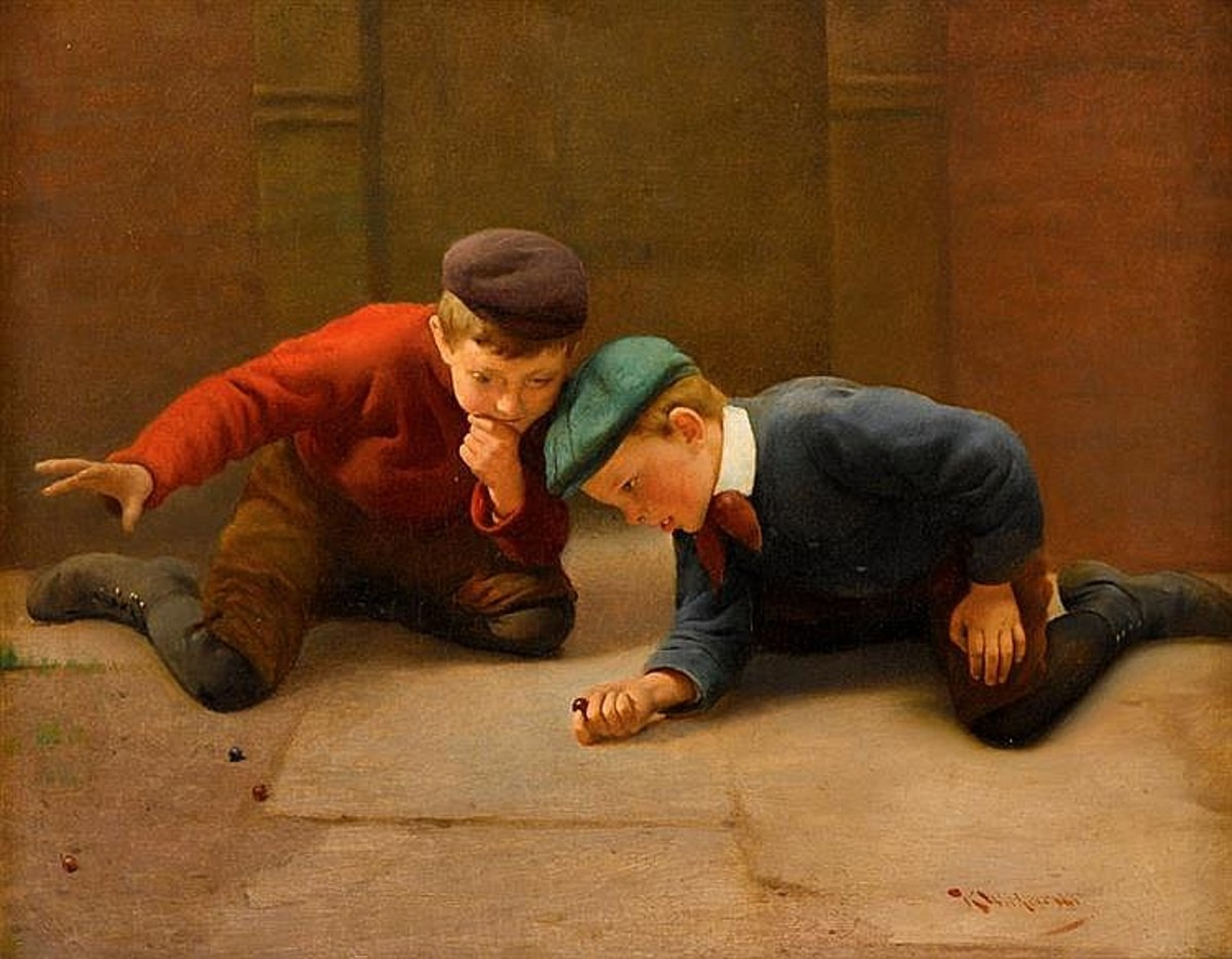 Wiki Commons Free Usage. Painting of boys playing Marbles