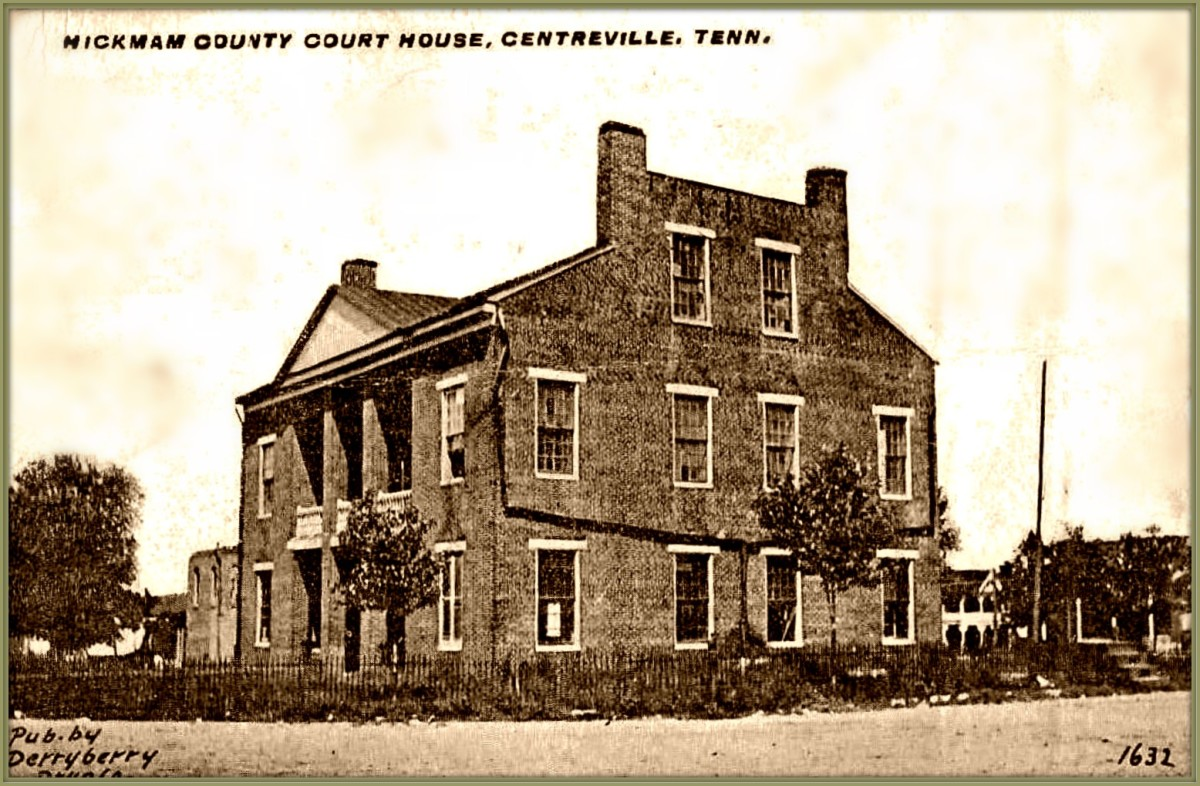 The restoration of the burned Centerville Courthouse ... The Derryberrry  postcard dates to around 1890's