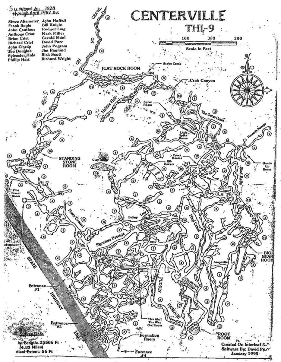 Here is the map of the cave system under the city of Centerville. one of the entrances was right under the old courthouse. The caves have been closed to the public for many years do safety concerns, & the fact One could get lost in the many branches.