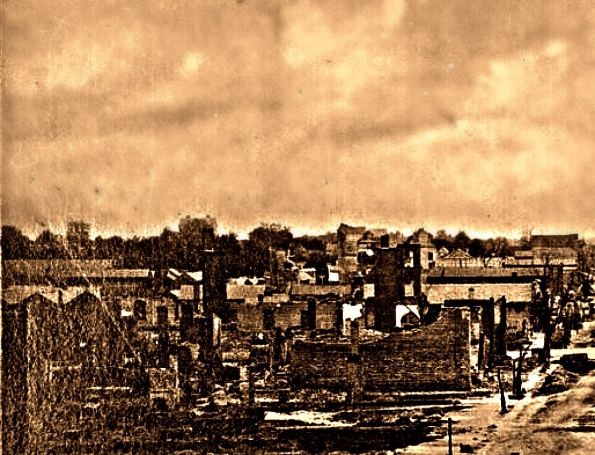 Union Captain John W. Taylor's company (2nd Tennessee), known as the Perry County Jayhawkers, returned to Hickman County with the wrath of Hades, and burned all the fine commercial buildings, warehouses, as well many private dwellings.