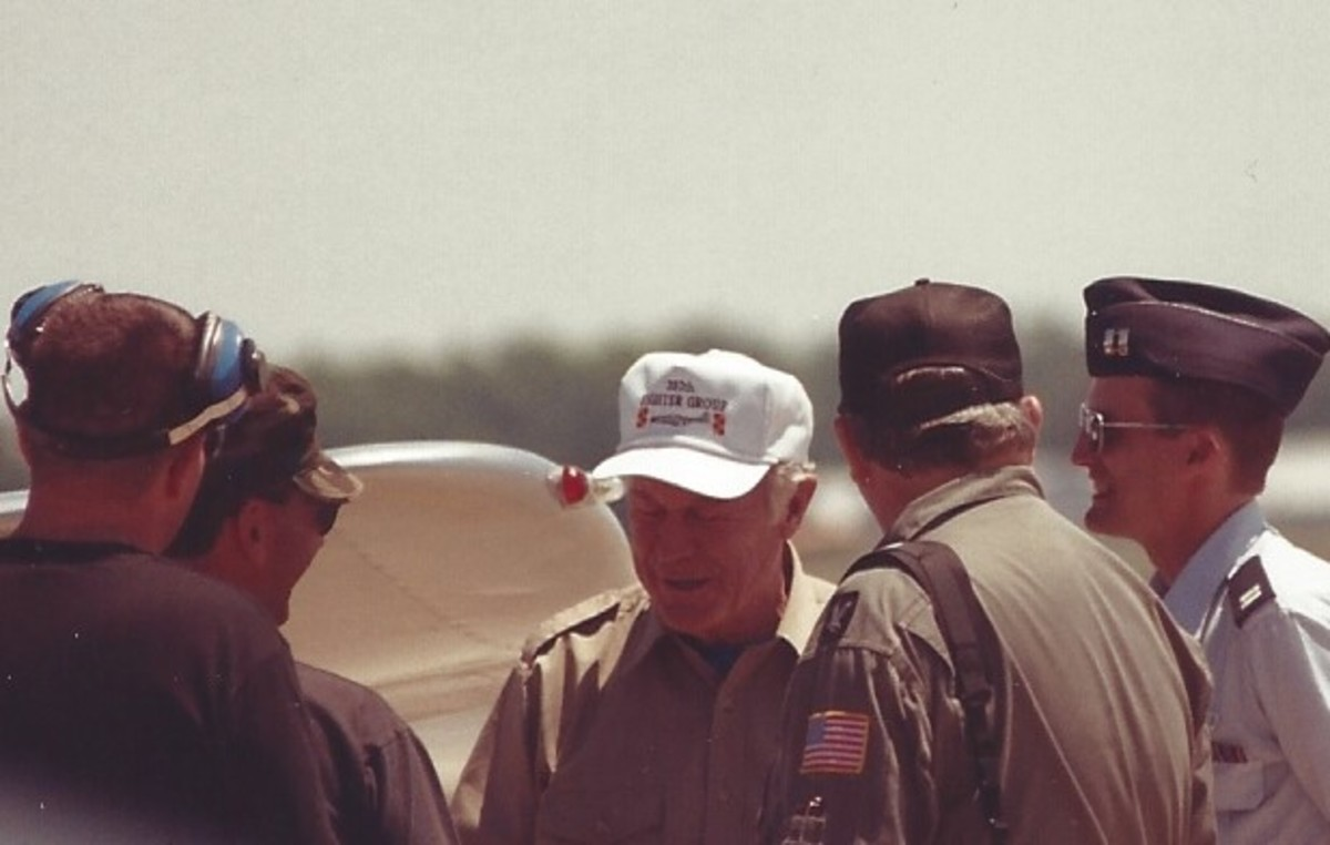 Retired Brigadier General Chuck Yeager at Andrews AFB, MD.  General Yeager was Northrop's chief spokesperson for the F-20 Tigershark.