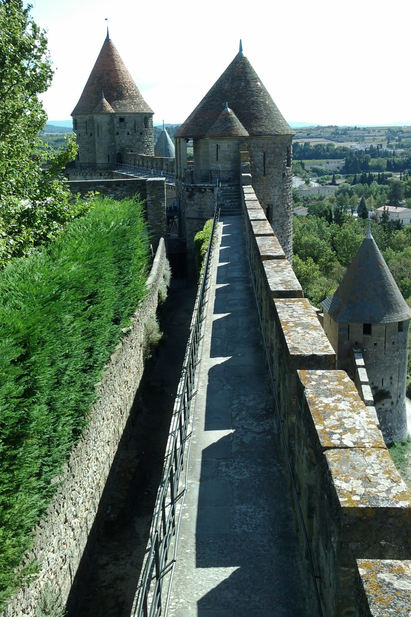 The rampart of the Cité de Carcassonne in the Aude department of France.