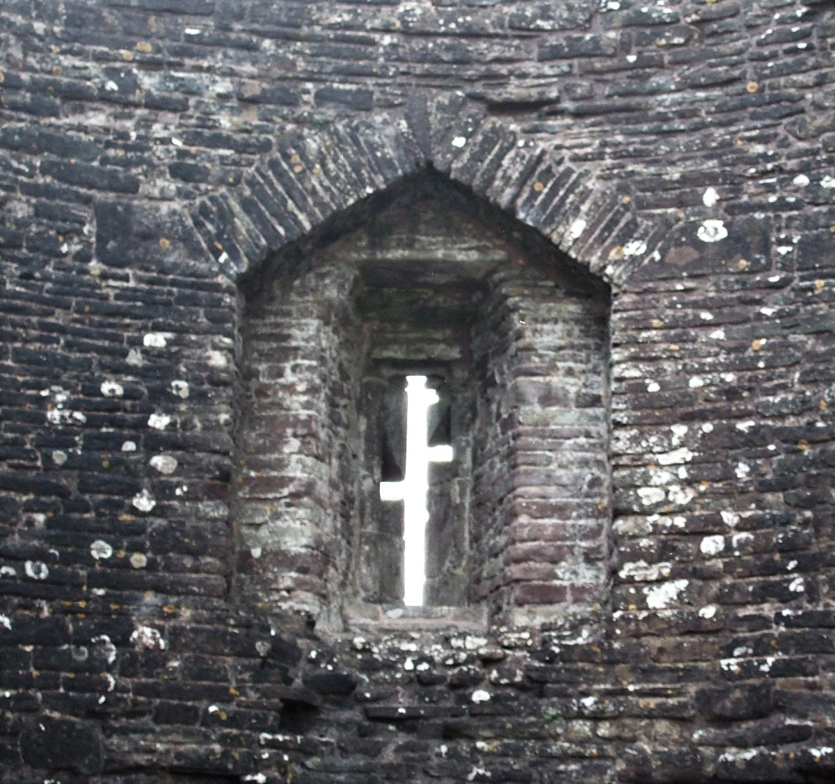 An arrowslit at White Castle, Wales.