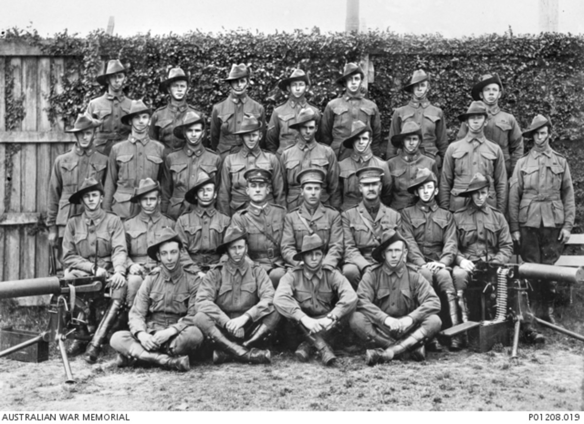 Group portrait of members of the Machine Gun Section, 1st Australian Light Horse Regiment, New South Wales Lancers, at Rosebery, NSW. Believed to be in this photograph are: 52 Private (Pte) Rhys Travers Jones, of Yass, NSW; 224 Driver (Dvr) Norman Al