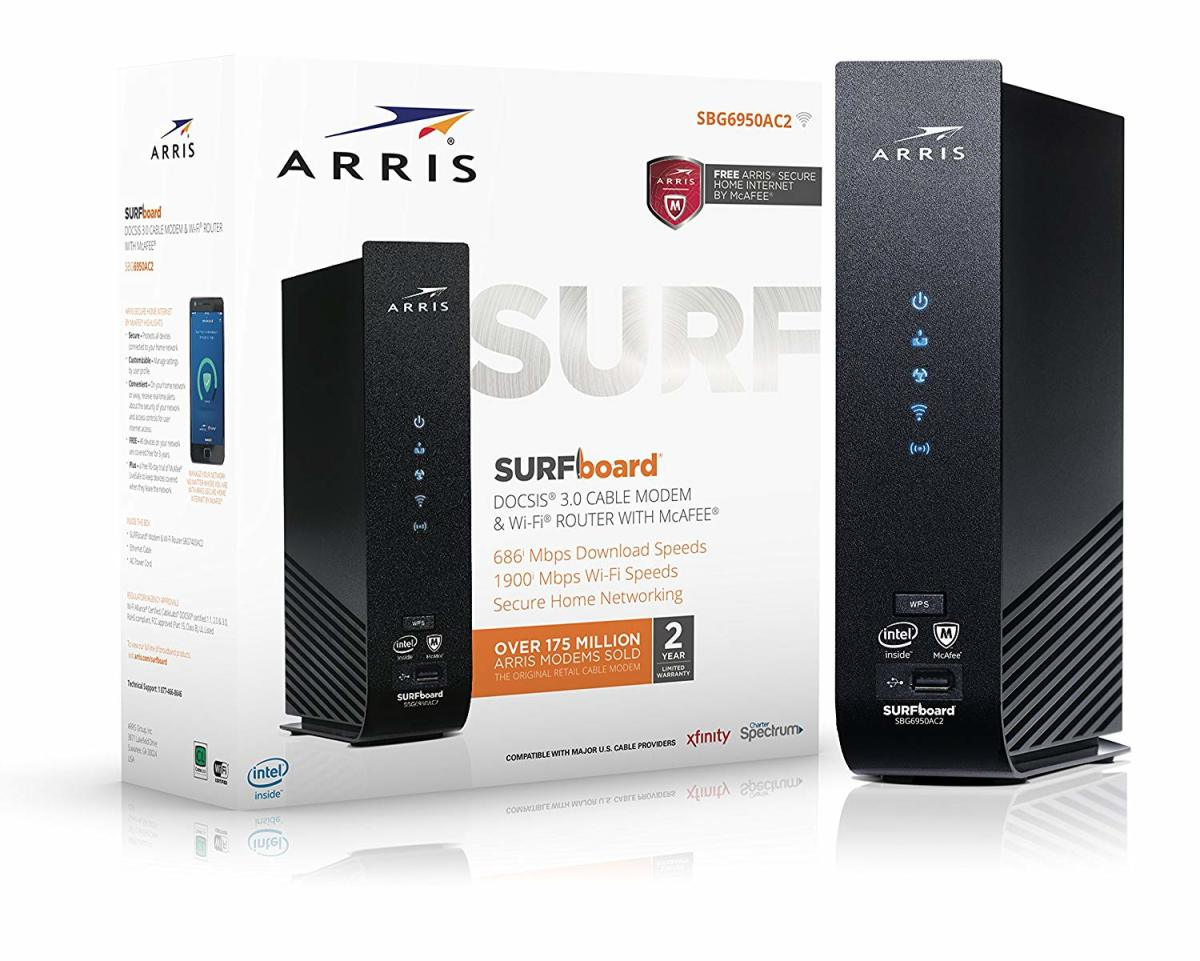 ARRIS SURFboard SBG6950AC2 16x4 DOCSIS 3.0 Cable Modem/AC1900 Wi-Fi Router/McAfee Whole Home Internet Protection