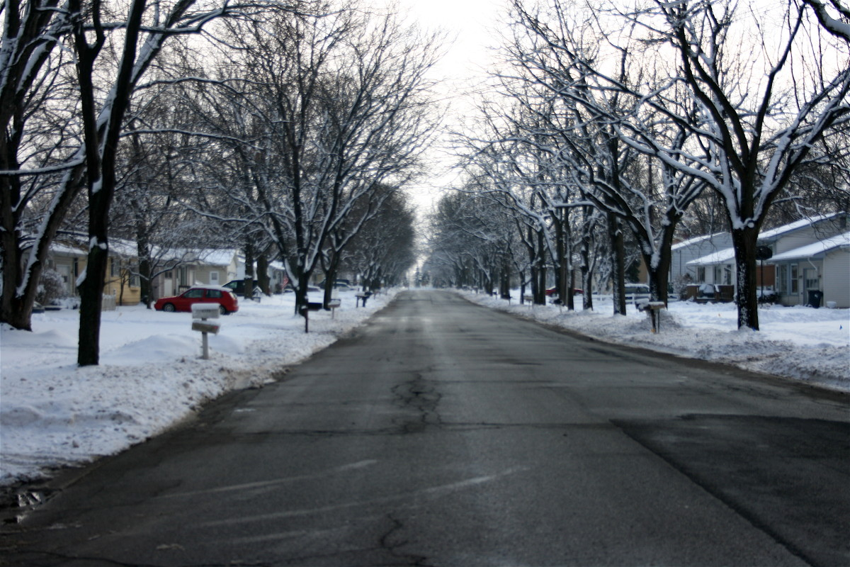 Meredith Street in Portage, Michigan in the winter