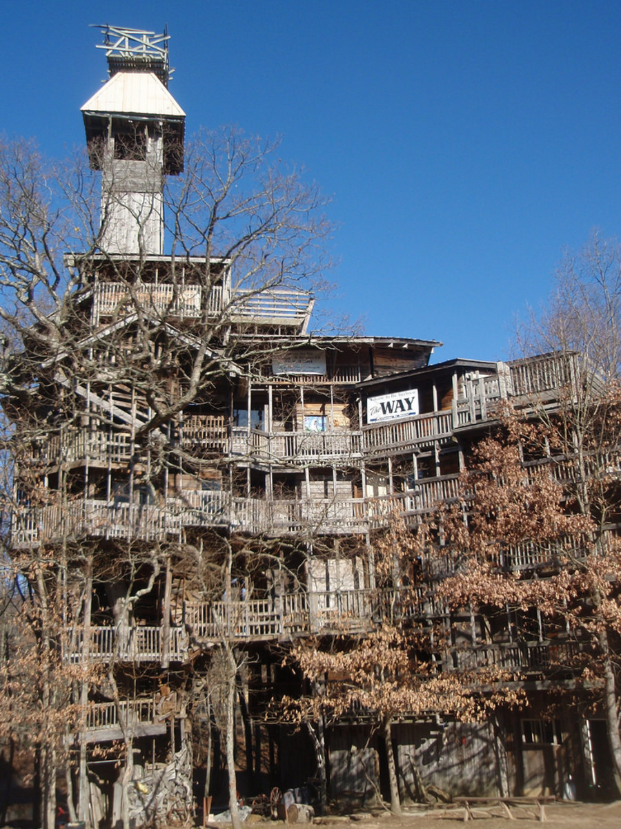 The Minister's Tree House, built by one man out of scrap wood. He said God told him to build it.