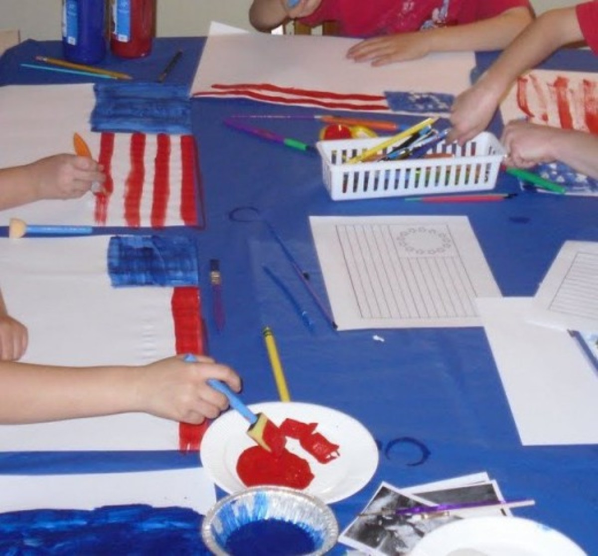Painting the first flag adopted by the Continental Congress