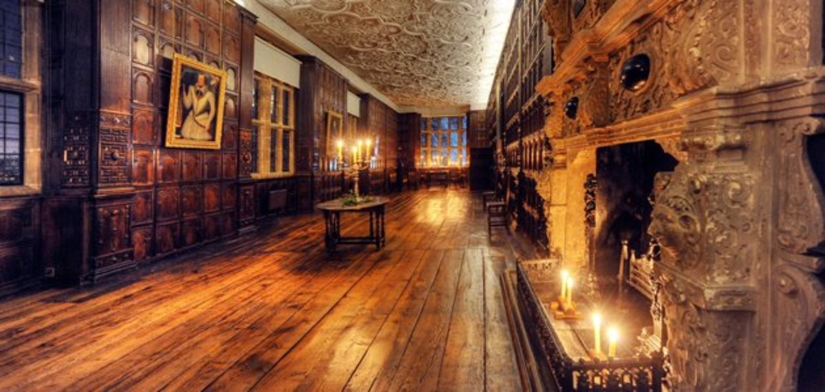 One of Aston Hall's grand galleries.