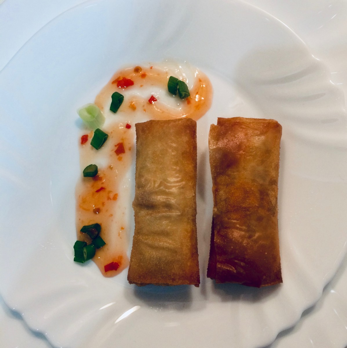 Crisp Vegetable and Minced Pork Spring Rolls