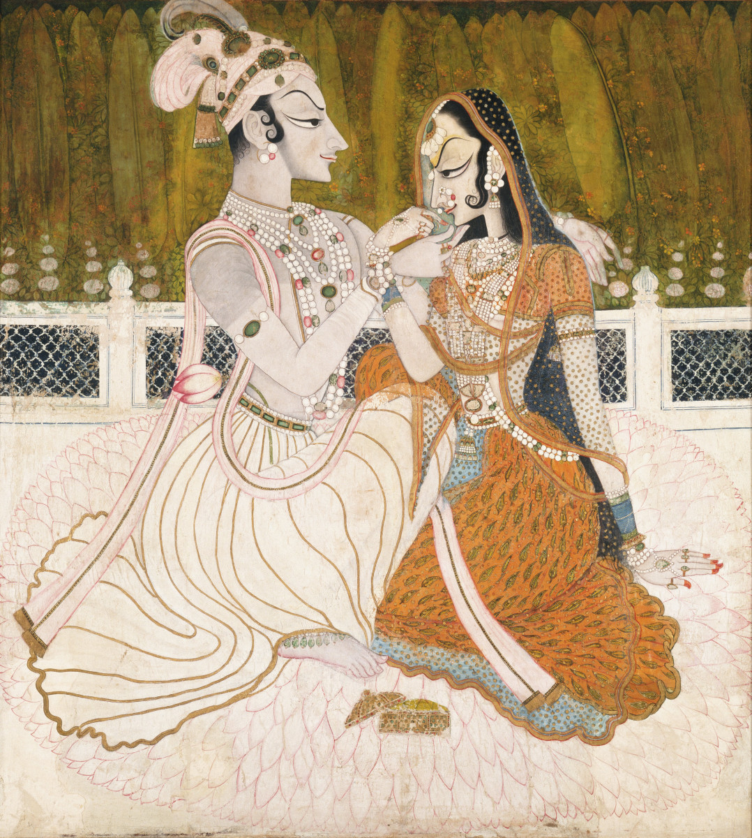 Krishna and Radha, might be the work of Nihal Chand, a master of the Kishangarh school trained at the imperial court in Delhi.