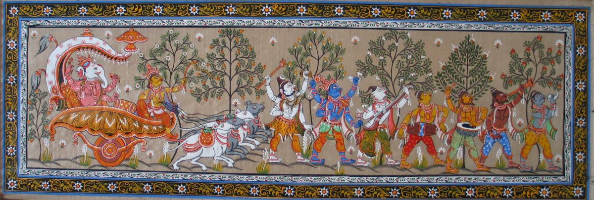 Pattachitra are based on Hindu Mythology. Depicted here is a parade of the god Ganesha.
