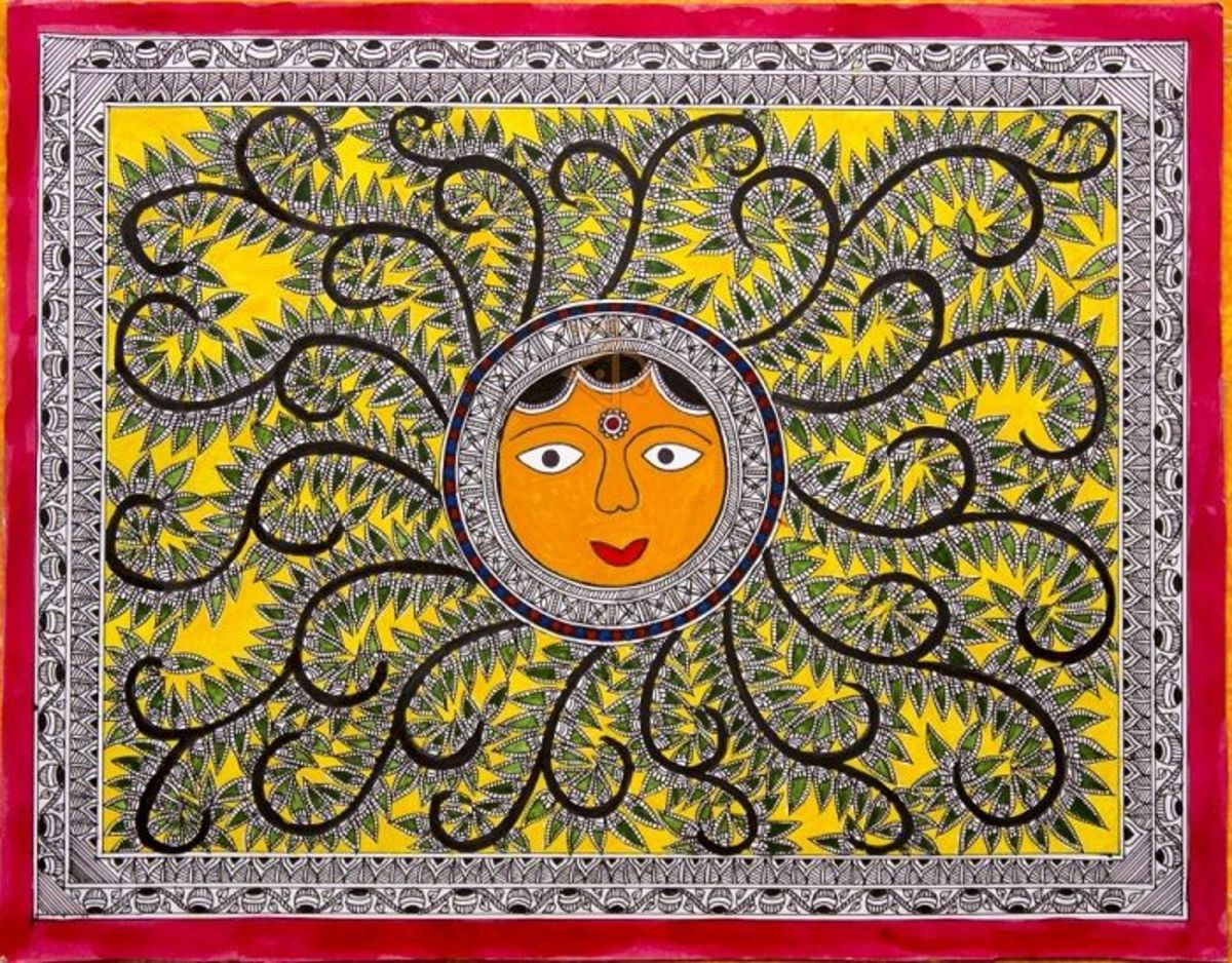 Image Credit : https://www.artzolo.com/traditional-art/sun-madhubani-painting?id=71024
