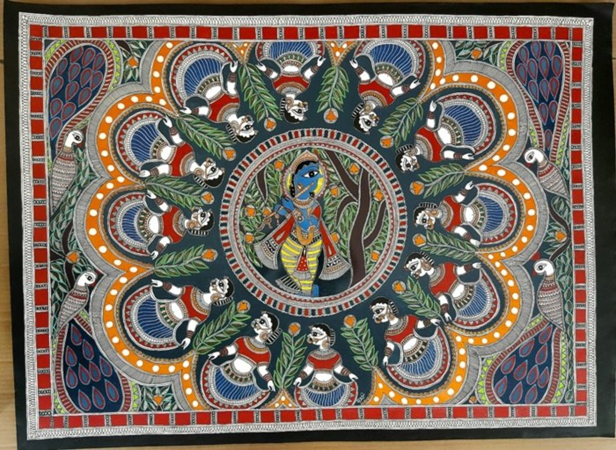 BRINDAVAN RAAS OF KRISHNA MADHUBANI ART BY DE KULTURE WORKS