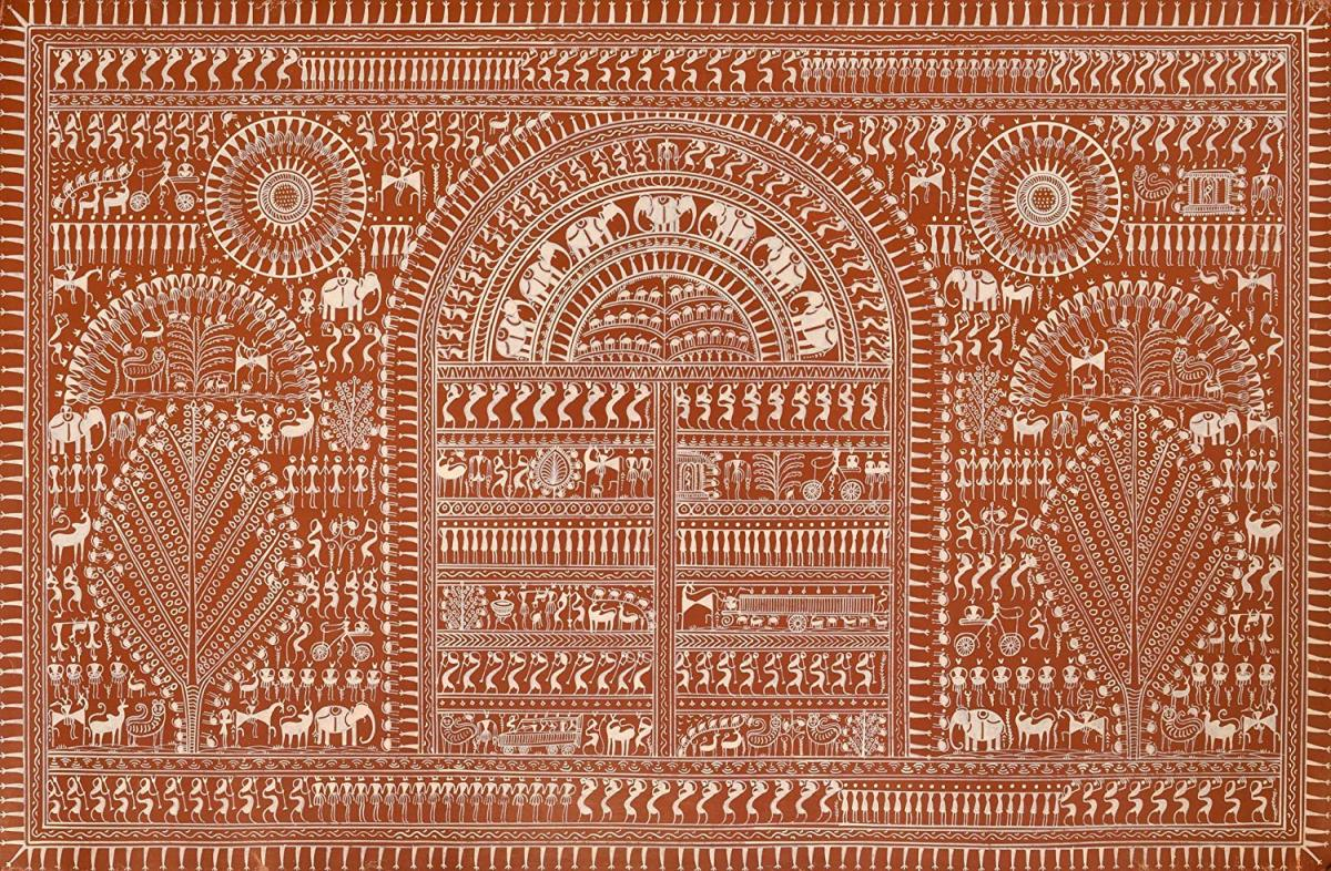 Exotic India Life in Warli - Warli Painting On Patti - Folk Art of The Warli Tribe (Maharashtra)