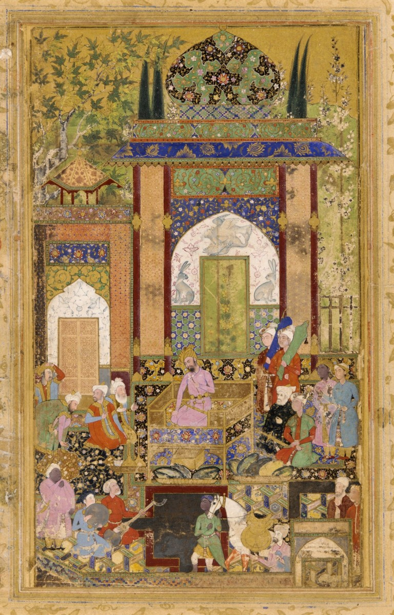 Mughal painting: Babur Receives a Courtier by Farrukh Beg c. 1580-85. Opaque watercolor and gold on paper, painted and mounted within borders of a Rawżat aṣ-ṣafāʾ page. Freer Sackler Gallery.