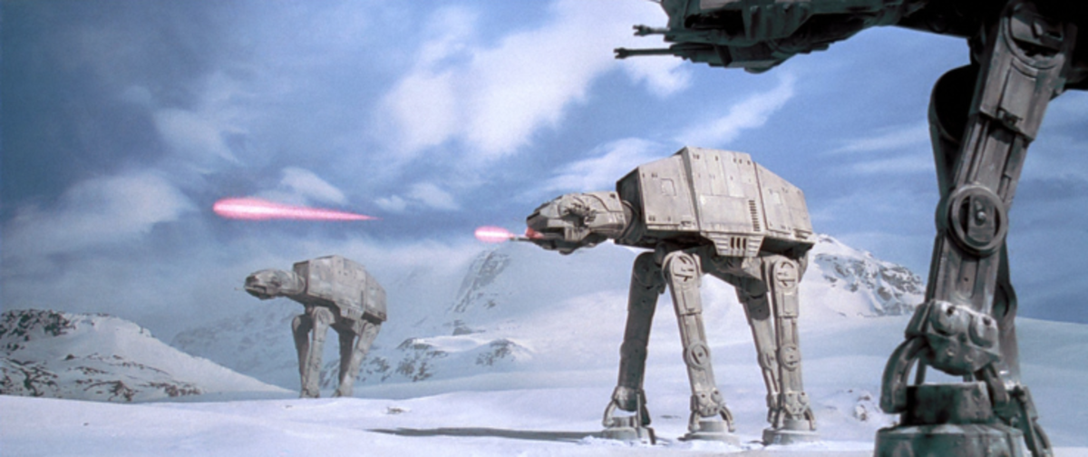 The Empire's AT-AT Walkers attacking the Rebel base.
