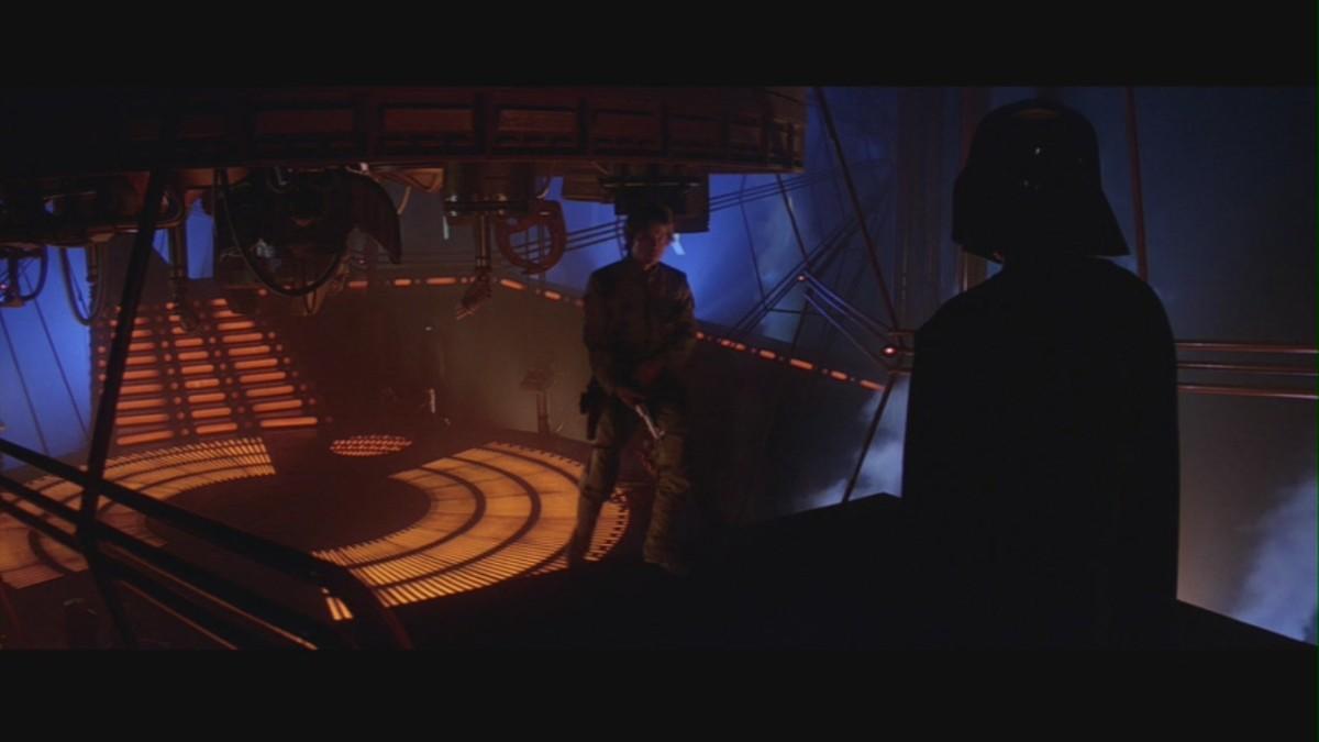 Luke Skywalker confronts Darth Vader for the first time.