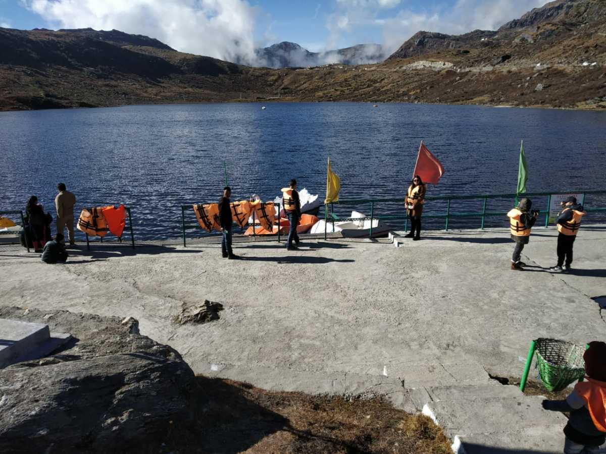 Boating at around 13,000 ft above the sea level with lofty mountains in the backdrop