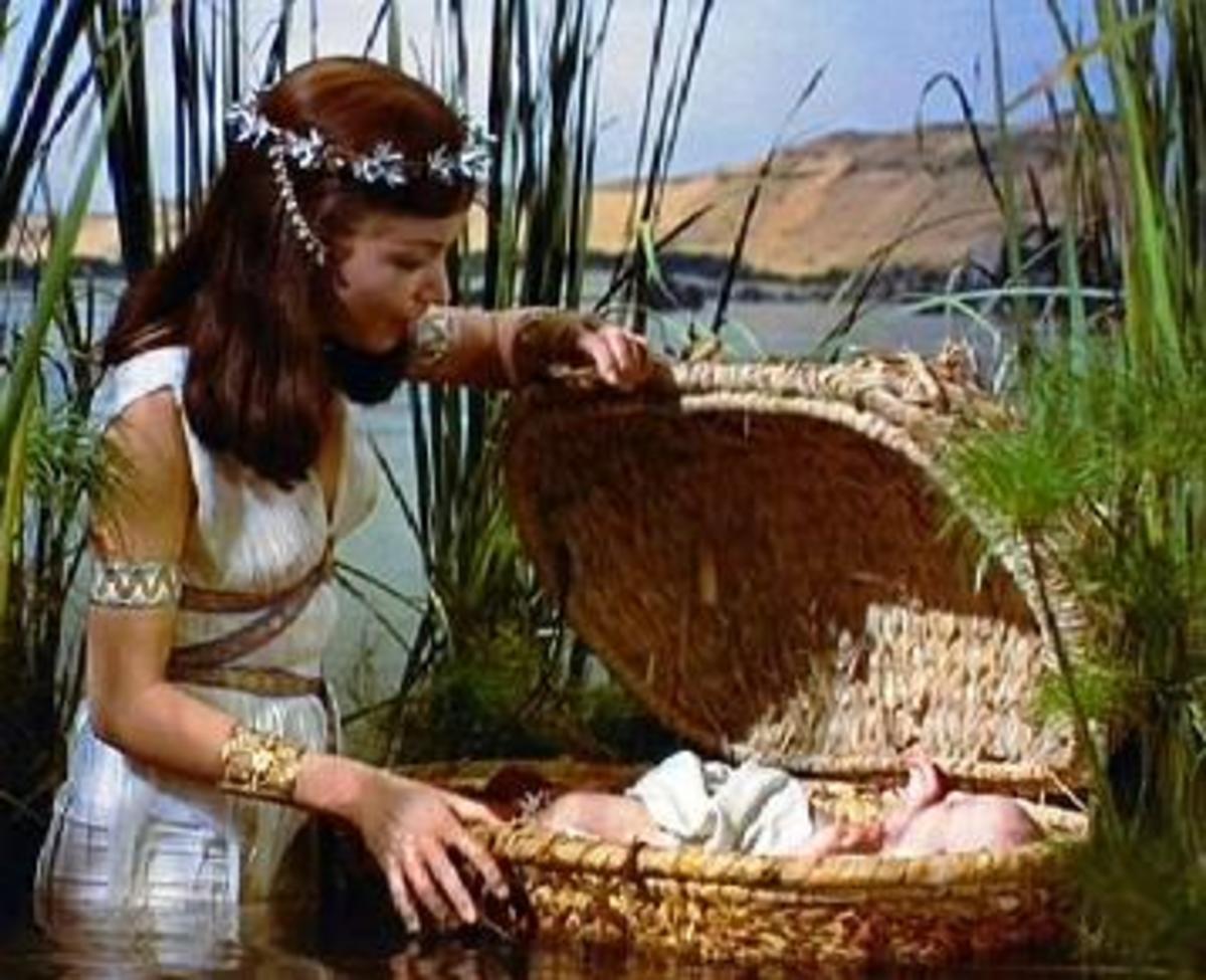 Pharaoh's daughter looking at Moses