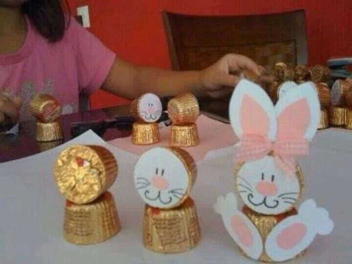Paper Easter Bunny Candy Holder | Easy Easter Crafts for Kids to Make