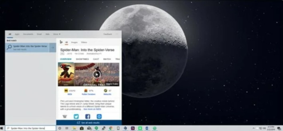 Bing inside Start Menu