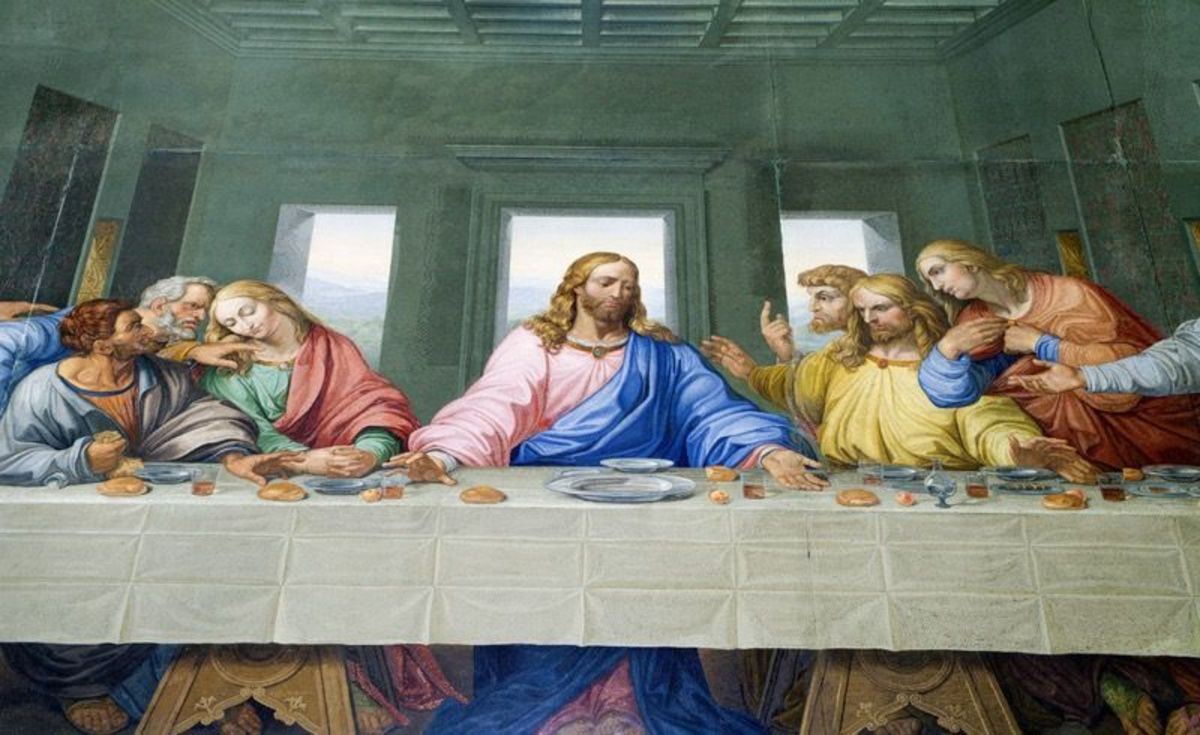 The traditional Last Supper portrait.
