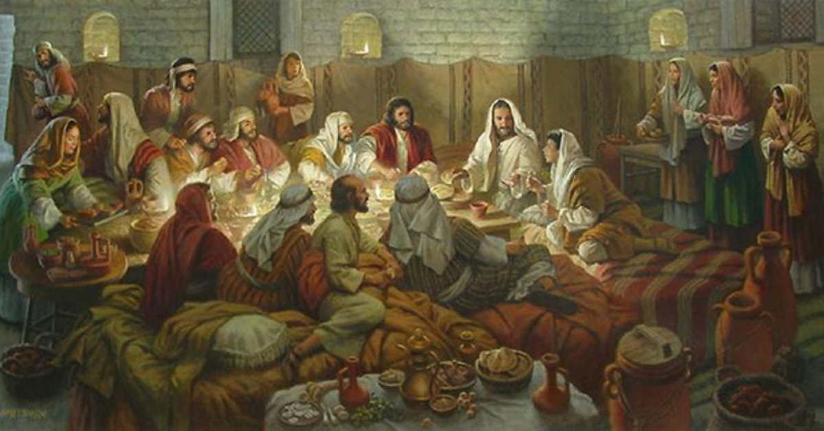 Jesus and followers reclining while eating.