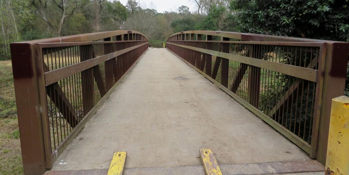Bridge over Hall's Bayou in Keith-Wiess Park