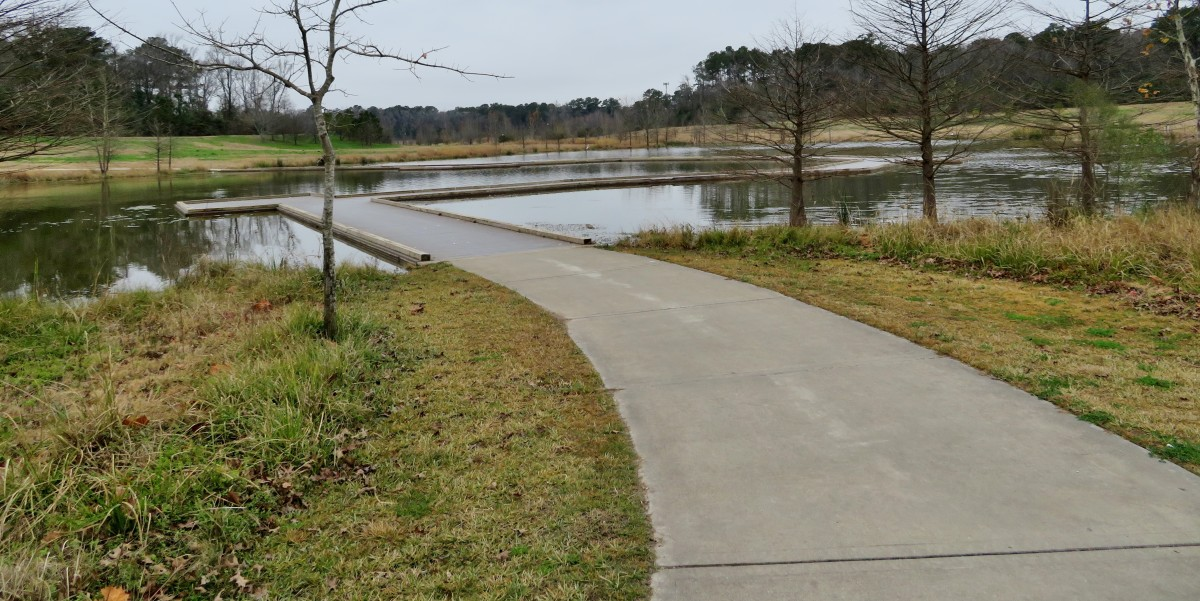 Approaching the raised boardwalk area over a pond in Eeith-Wiess Park