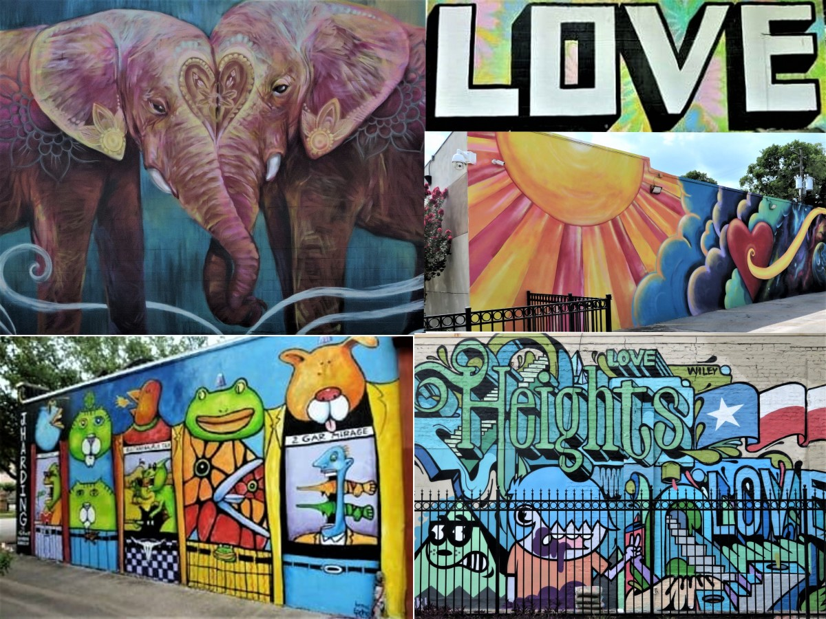 Collage showing some of the murals in the Houston Heights