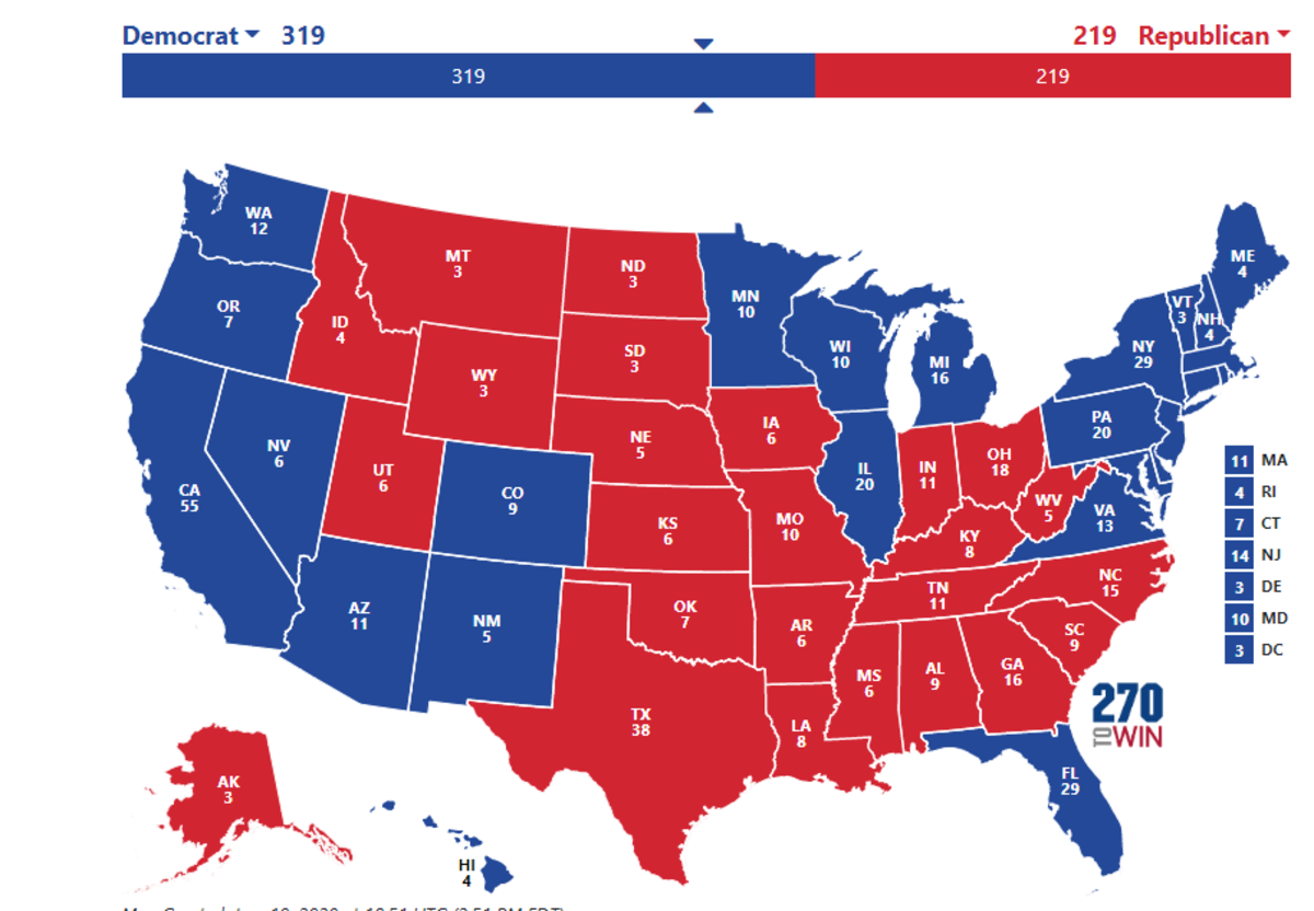 2020 as of 6/10/20 with Trump bias added