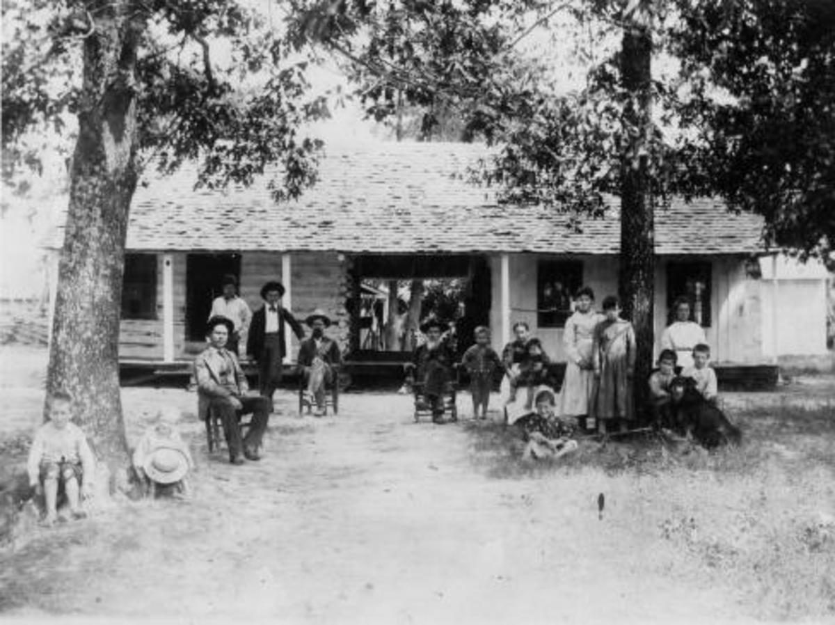 Skullyville - The Choctaw Agency building - The Tom Ainsworth family when he owned the building in the 1880's