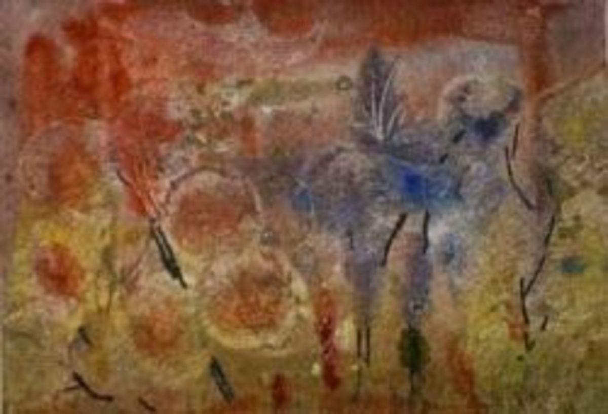 flower garden abstract atc aceo