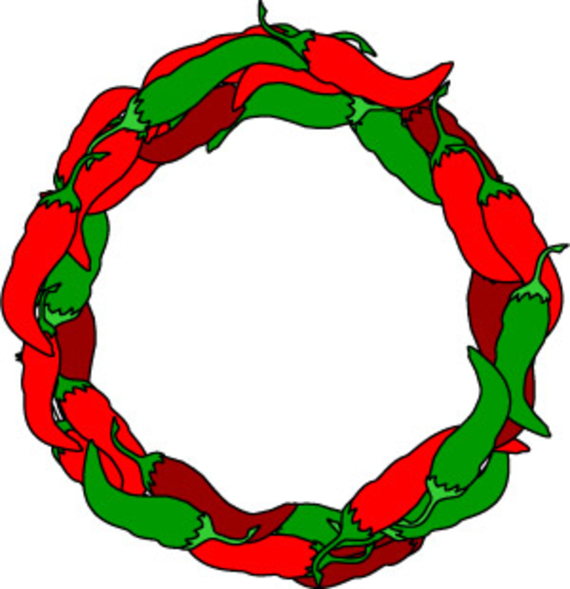 Chili peppers wreath border clip art