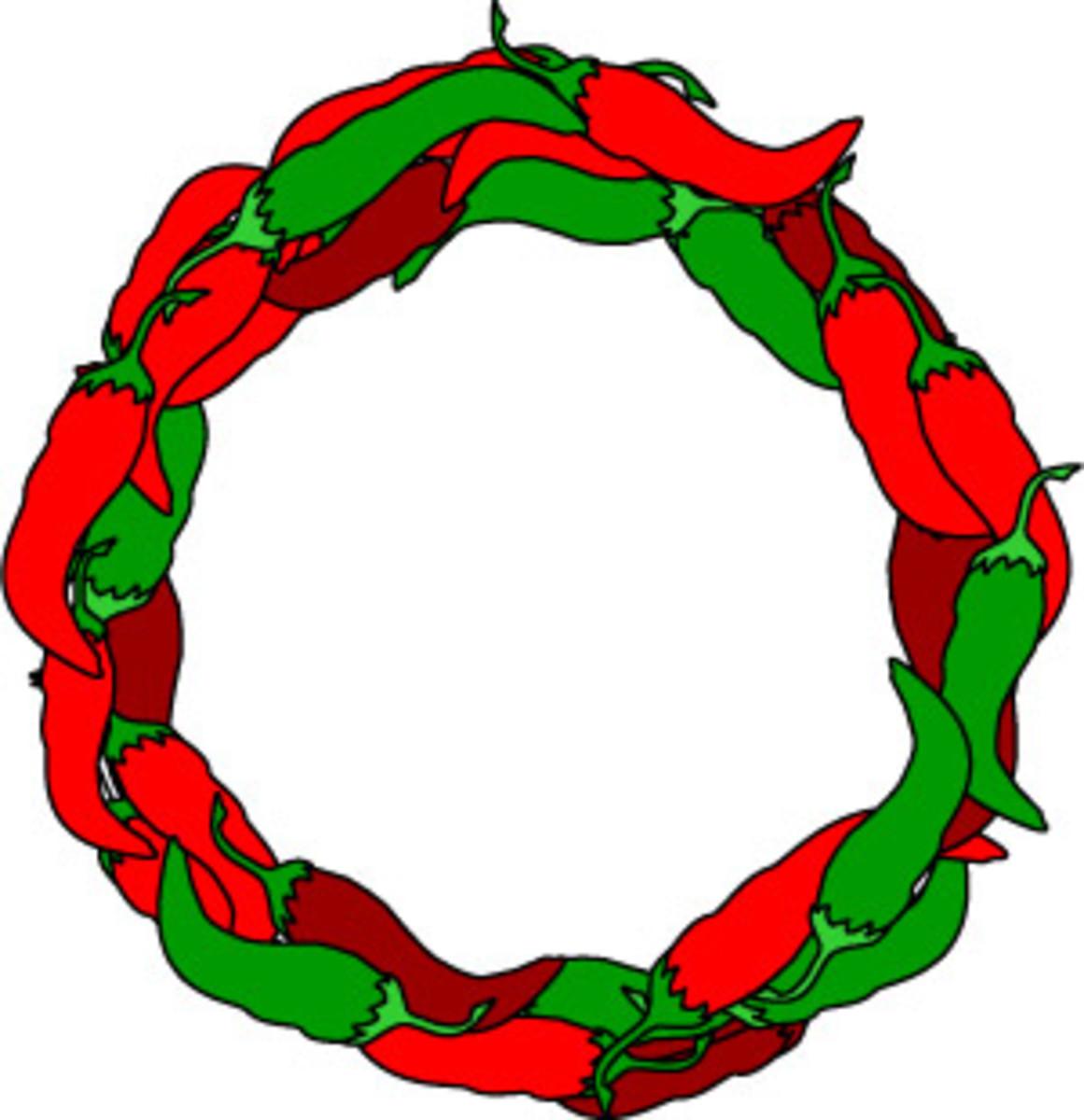 Chili peppers wreath border clip art